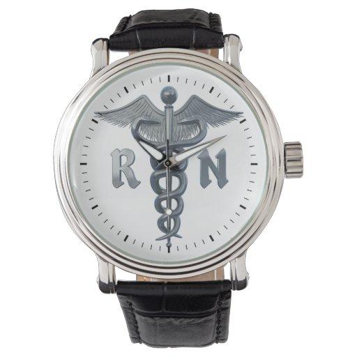 Símbolo de la enfermera registradoa reloj