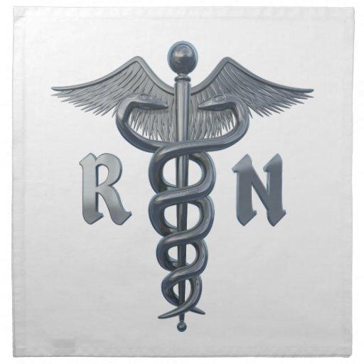 Símbolo de la enfermera registradoa servilletas imprimidas