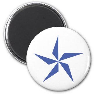 símbolo de la estrella azul imán redondo 5 cm