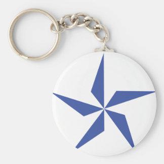 símbolo de la estrella azul llavero redondo tipo pin