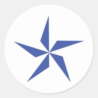 símbolo de la estrella azul pegatina redonda