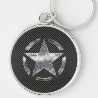 Símbolo de la estrella en una decoración del llavero redondo plateado