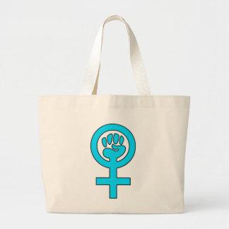 Símbolo de la feminista del poder de las mujeres bolsa tela grande