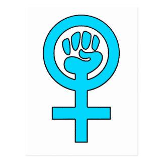 Símbolo de la feminista del poder de las mujeres tarjeta postal