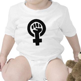 Símbolo de la feminista del poder del chica trajes de bebé