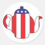 Símbolo de la fiesta del té pegatina redonda