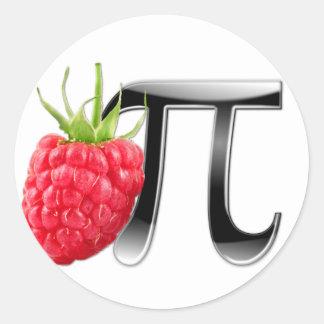 Símbolo de la frambuesa y del pi etiqueta redonda
