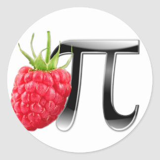 Símbolo de la frambuesa y del pi pegatina redonda
