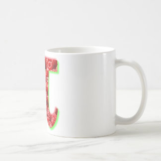 Símbolo de la frambuesa y del pi taza básica blanca