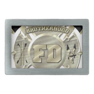 Símbolo de la fraternidad del bombero del oro hebillas cinturón rectangulares