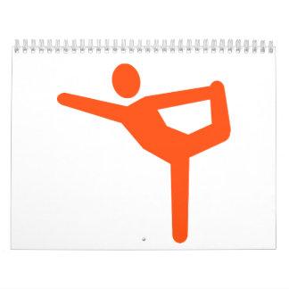 Símbolo de la gimnasia de la yoga calendarios de pared