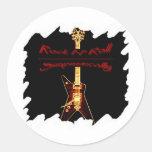 Símbolo de la guitarra de la roca etiqueta redonda