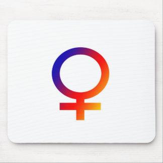 Símbolo de la hembra del arco iris mouse pads