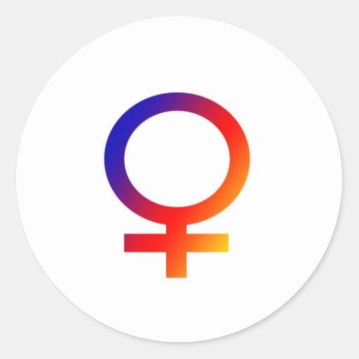 Símbolo de la hembra del arco iris pegatina redonda