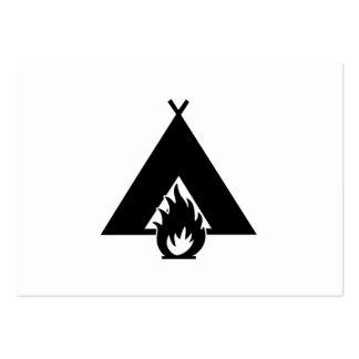 Símbolo de la hoguera y de la tienda plantillas de tarjetas personales