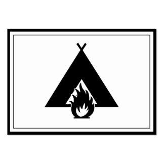 Símbolo de la hoguera y de la tienda plantilla de tarjeta de negocio