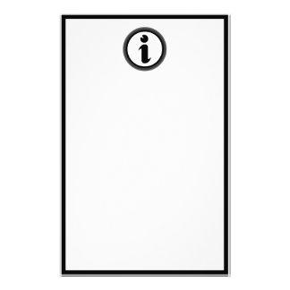 Símbolo de la información papeleria personalizada