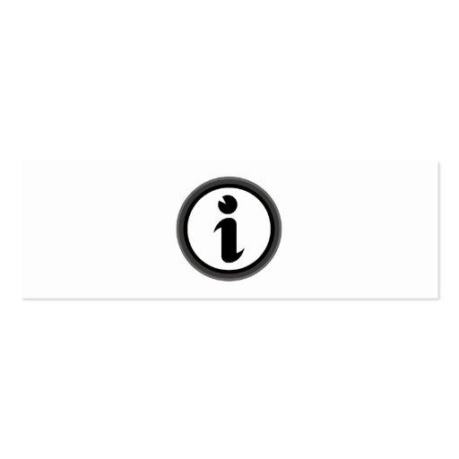 Símbolo de la información tarjetas de visita mini