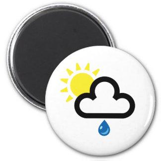 Símbolo de la lluvia de Sun de la nube Imán Redondo 5 Cm