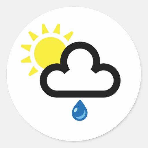 Símbolo de la lluvia de Sun de la nube Etiqueta Redonda