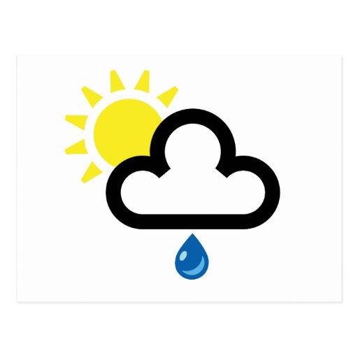 Símbolo de la lluvia de Sun de la nube Postal