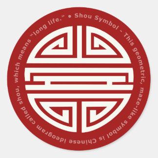 Símbolo de la longevidad pegatinas redondas