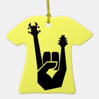 Símbolo de la mano de la roca adorno de cerámica en forma de camiseta