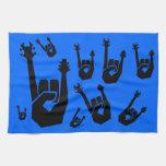 Símbolo de la mano de la roca toalla de mano
