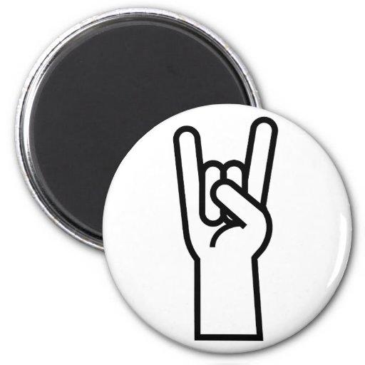 Símbolo de la mano de la roca y del rollo imán redondo 5 cm