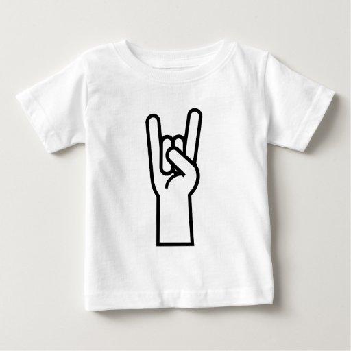 Símbolo de la mano de la roca y del rollo playera