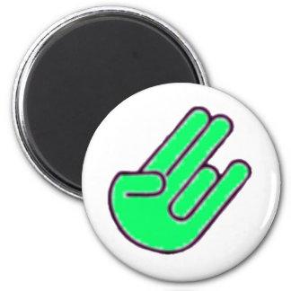 Símbolo de la mano del escándalo imán redondo 5 cm