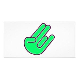 Símbolo de la mano del escándalo tarjetas fotográficas