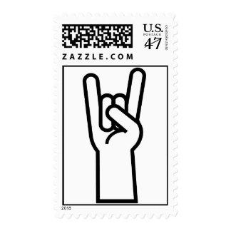 Símbolo de la mano del rock-and-roll estampillas