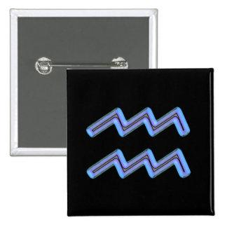 Símbolo de la muestra de la estrella del acuario pin cuadrado