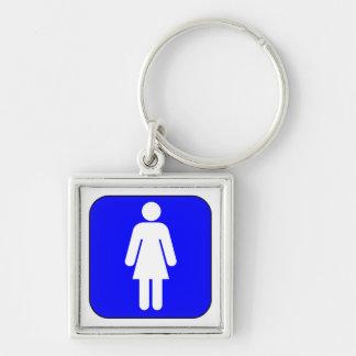 Símbolo de la mujer llavero cuadrado plateado