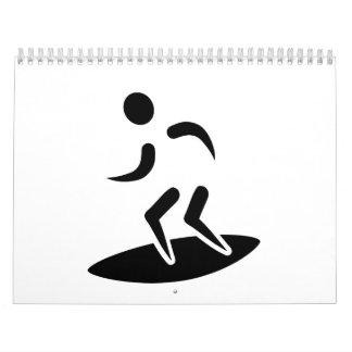 Símbolo de la persona que practica surf calendarios de pared