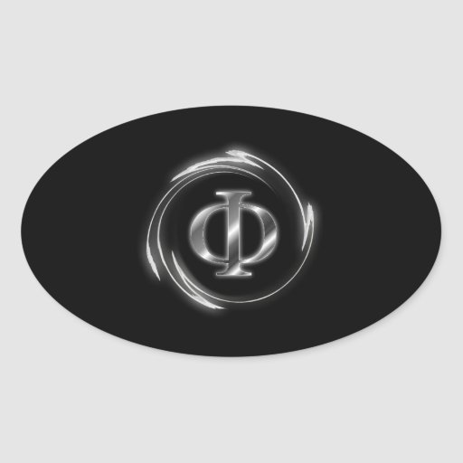 Símbolo de la phi pegatina ovalada