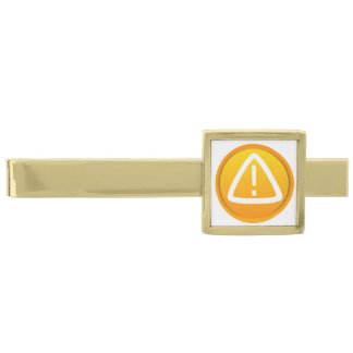 Símbolo de la precaución de la atención alfiler de corbata dorado