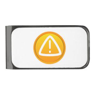 Símbolo de la precaución de la atención clip para billetes metalizado