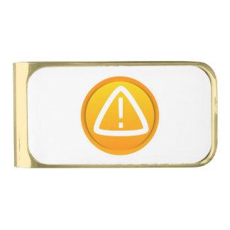Símbolo de la precaución de la atención clip para billetes dorado