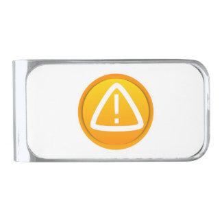 Símbolo de la precaución de la atención clip para billetes plateado