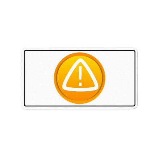 Símbolo de la precaución de la atención etiquetas de dirección