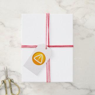Símbolo de la precaución de la atención etiquetas para regalos