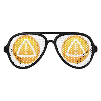 Símbolo de la precaución de la atención lentes de sol
