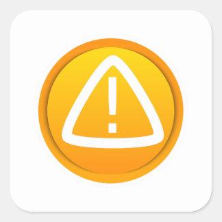 Símbolo de la precaución de la atención calcomanías cuadradases