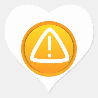 Símbolo de la precaución de la atención calcomanías de corazones