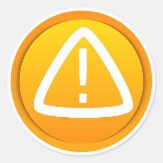 Símbolo de la precaución de la atención pegatina redonda