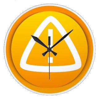 Símbolo de la precaución de la atención reloj redondo grande