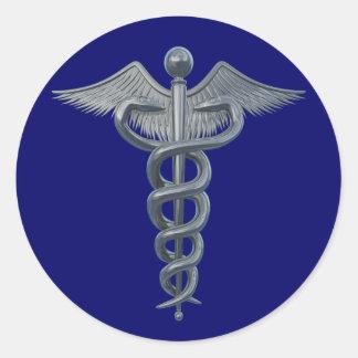 Símbolo de la profesión médica pegatina redonda