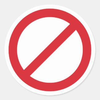 Símbolo de la prohibición Sign/No Pegatina Redonda